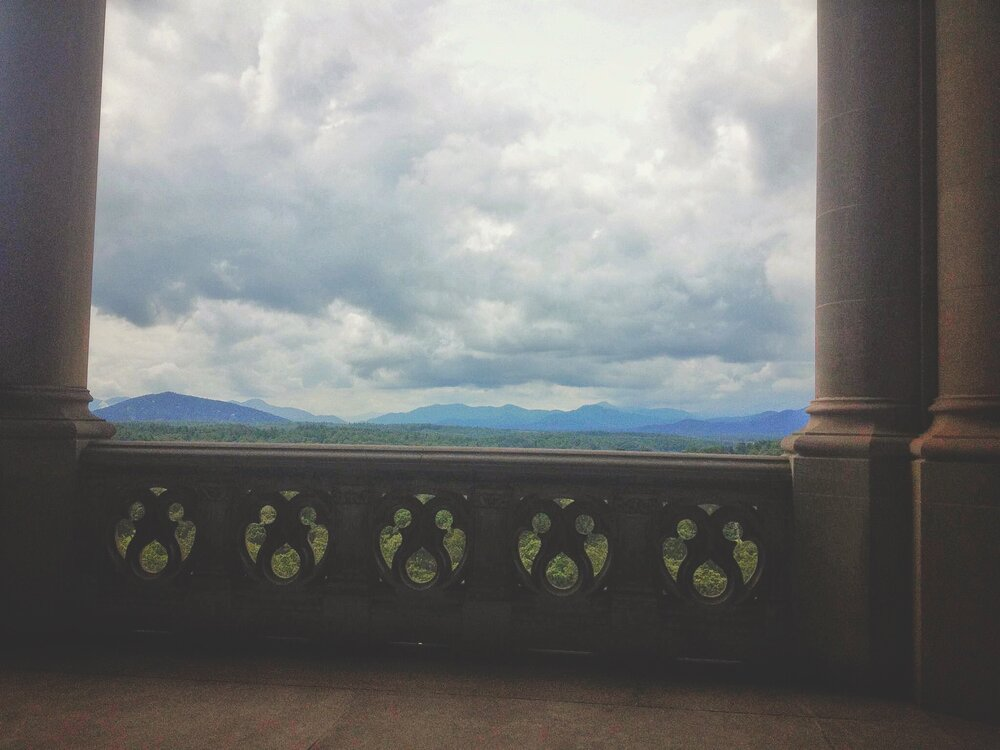 The view from the back veranda at the Biltmore Estates