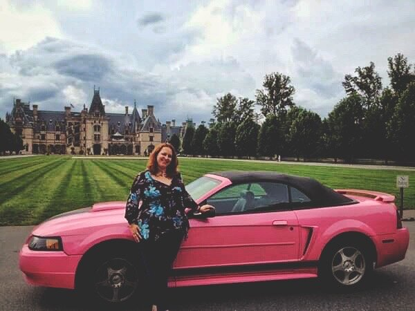 Me and my Barbie car at the Biltmore Estates